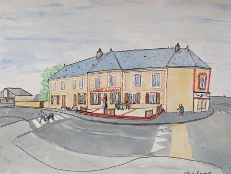 Dessin de la façade des Halles de Châtelais imaginée par Anthonin Rousseau