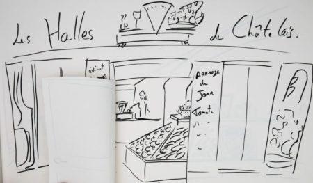 Dessin des Halles de Châtelais, la boutique bar épicerie associatif