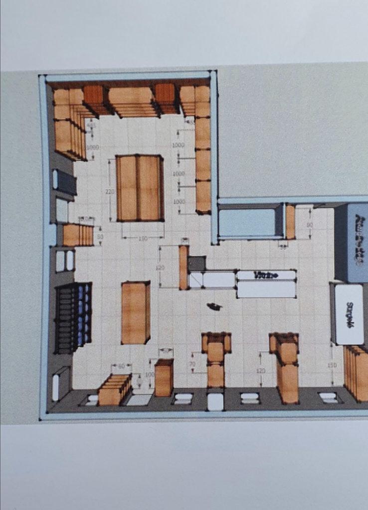 Le plan de la future boutique des Halles de Châtelais