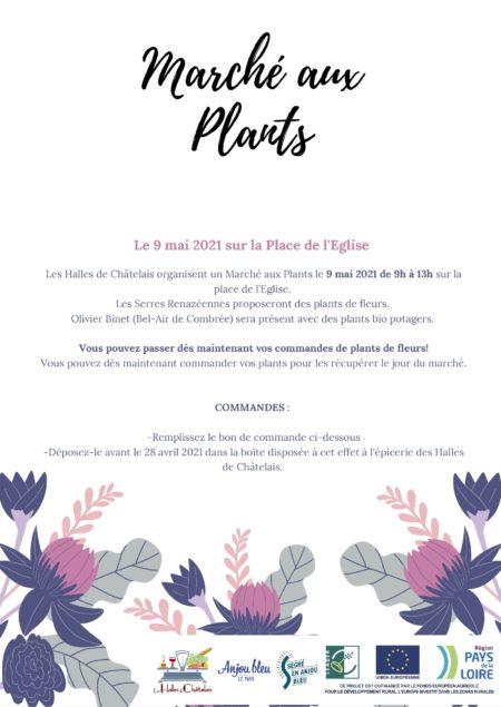 L'affiche du Marché aux Plants des Halles de Châtelais le 9 mai 2021