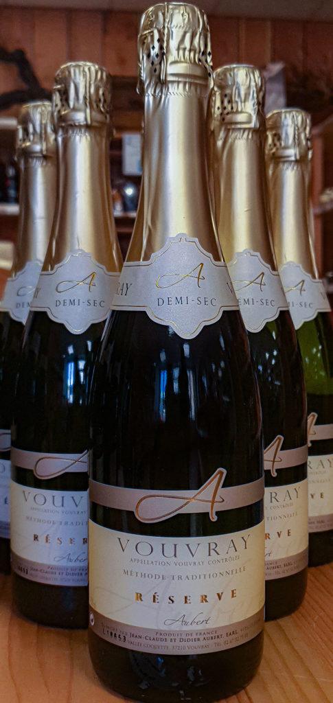 Vin de Vouvray Réserve méthode traditionnelle du Domaine Aubert demi sec 2020 aux Halles de Châtelais