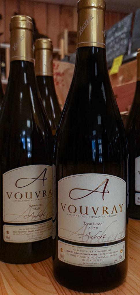 Vin de Vouvray du Domaine Aubert demi sec 2020 aux Halles de Châtelais